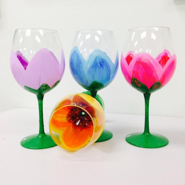 Types of classes painted grape for Type of paint to use on wine glasses